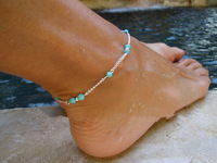 Fashion Sexy Chain Anklets Silver Anklets Bracelets Blue beads barefoot sandals jewelry Beach Foot Jewelry for women 2014