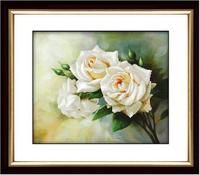 3D White rose flowers love cross stitch kit cotton silk thread embroidery flower DIY handmade needlework set wall home decor