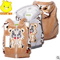 2014New Spring Autumn - Winter Kids' boy girl Children Outwear Waistcoat Kids Tiger Fur Vest Baby Clothing With three Colors