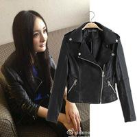 Star Yang Mi same style Jackets Women Coat New Autumn 2014 Europe & America clothing lapel Slim black motorcycle leather jacket