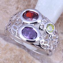 Delightful Garnet Amethyst Peridot Silver Stamped 925 Women's Fine Jewelry Ring Size 6 / 7 / 8 / 9 Free Gift Bag R0945