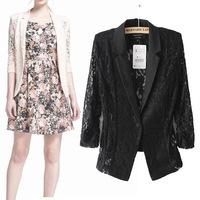 Women Blaser Elegant Lace Europe USA Women jackets & coats New Autumn 2014 Slim thin crochet hollow out  blazer feminino
