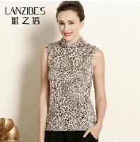 Summer new knitted silk jacket sleeveless vest women's T-shirt Mulberry silk leopard print high collar T-shirt  b043