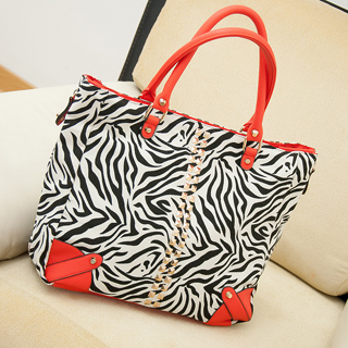 brand new next zebra shopper bags pyramid women's canvas leather handbag shoulder bag fashion tote free shipping(China (Mainland))