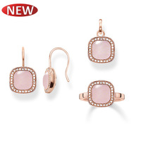 Promotion 2014 New fashion 18k rose gold plated jewelry sets Women Wedding Necklace pendants Earrings Rings free shipping TSS004