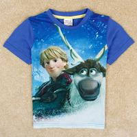 new arrival 2014 summer baby boys frozen t shirt printing cartoon o-neck frozen tops t shirt kids boys C5026Y free shipping