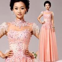 2014 fashion Luxurious tank sleeveless chiffon A-line Bridesmaid dresses pink bow vestido de dama de honra plus size 8232
