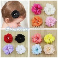 Free Shipping Baby Girl Ballerina Flowers Hair Clips Newborn Infant Rhinestone Pearl Hairpins Hair Bows 24pcs HBD22