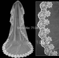 Free Shipping wholesale/retail100% guarantee lace edge long wedding veil/bridal veil/bridal accessories/head veil/tulle veil 3 M