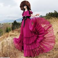 2014 summer fashion women's bohemian plus size maxi dress solid color sleeveless chiffon ruffle long length beach dress