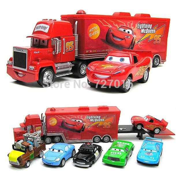 """1set=7pcs Pixar in lega auto di plastica& mack + samll giocattolo auto rossa + mater + sceriffo cars+ Sally + pulcino Hicks""""Mack""""camion auto giocattolo"""