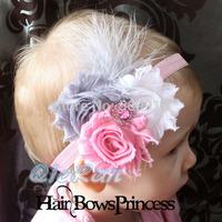 Children Hair Accessories Infant flower Feather headband Baby Girl Christening Hair Bows Rhinestone Hairband Photo Props 10pcs