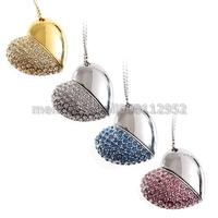 Jewelry Crystal Love Heart Shape USB Flash Memory Stick Thumb Drive U Disk 1GB/2GB/4GB/8GB/16GB+Necklace+ Metal Gift Box