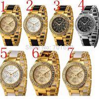 2014 High quality Geneva luxury wristwatches imitation ceramic white resin strap design with Diamond Ornament women watch