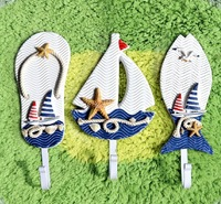 NEW ARRIVAL  Mediterranean sailing slippers fish sundries hook single hook crafts home decor three sets of hooks- free shipping