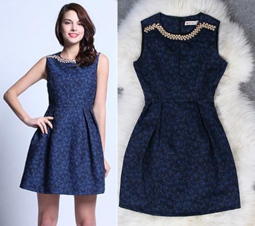 new 2014 hot summer fashion Heavy beaded jacquard vest tutu dresses cozy o neck sleeveless ball gown(China (Mainland))
