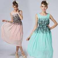 Hot Selling Summer Dress 2014 Sexy Women's dresses Fashion Slim Sexy Printed Chiffon Tank Dresses Girls Cute Brief  Party Dress