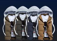 New 2014 Autumn Winter Casual Hooded Vest Men Cotton-padded Colete Masculino Waistcoat Sleeveless Jacket M-3XL MA02