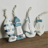 wooden Lighthouse  fishing boats anchor hook  with thermometer  sundries hook single hook crafts home wall decor- free shipping