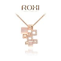 Fashion fashion jewelry pendant austria crystal rose gold square combination pendant chain  2030040565