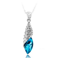 2014 accessories blue crystal female accessories short design chain drop pendant