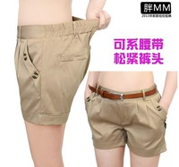 2014 Fashion 4XL Plus Size Khaki Stretchy Harem Shorts Woman Summer Slim Fitted Skinny Short Trousers Big Size