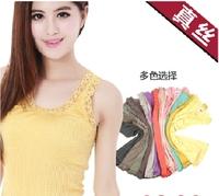 Mulberry silk ms render unlined upper garment Seamless knitted silk waist coat High elastic straps Round collar lace underwear
