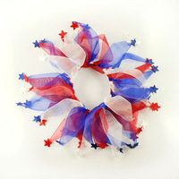 dreambows #ac1003 Handmade Red Blue White Stars Pet Cat Dog Festival Party Collar