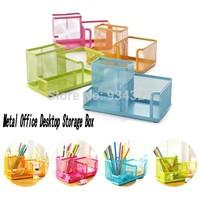 New Colorful Home Office School Metal Desktop Storage Box Organiser Drawer Pen Card Office Zakka Organizer Stationery Holder