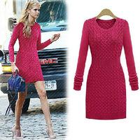 sweaters 2014 women fashion spring slim waist women's long-sleeve sweater female vintage twisted one-piece tricotado dress