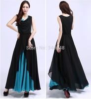 2014 female block color formal evening dress women long loose designer sleeveless v-neck chiffon patchwork dress free shipping