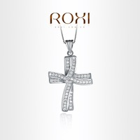 Roxi pendant jewelry hearts and arrows zircon gold plated double cross necklace   103024576