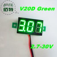 "Freeshipping V20D 10pcs/lot 2.7V~30V DC Digital Display Voltmeter Three Bit Green 0.36 ""LED Voltage Meter"