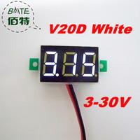 "Freeshipping V20D 5pcs/lot 3V~30V DC Digital Display Voltmeter Three Bit White 0.36 ""LED Voltage Meter"