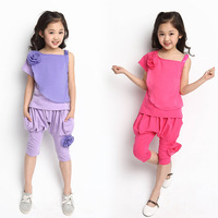 2014 children's clothing summer female child set children's clothing set baby short-sleeve twinset