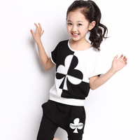 Child female child set baby short-sleeve summer 2014 casual sports set child twinset