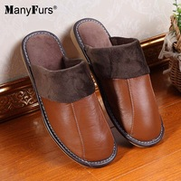 ManyFurs-2014 New Winter warm genuine leather home slippers women man comfort shoes antiskid slipper brand free shipping