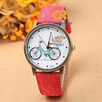 new unisex dress watch with bike cartoon pattern Fashion Denim Cloth Strap 2014 new clock free shipping F01-F051-7#