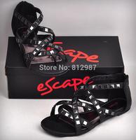 Free Shipping Retail 2014 New Fashion Women's Stylish Square Rivets  Flat Gladiator Sandals/Thong Sandals