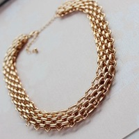 Gold choker necklace collares 2014 jewelry set of necklace&bracelet N335