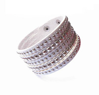 Multi Levels Chain Bracelets & Bangles For Women 2014 Brand Leather Layer Velvet Hot Lap Round Square Spike Jewelry YB339