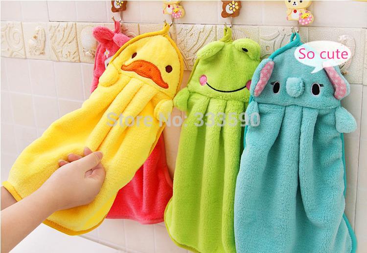 """Fun & Dry"" wholesale 2014 Character hanging towel, cute animals baby hand towel,cartoon hanging bath towel five colors(China (Mainland))"