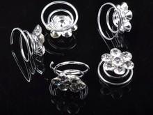 30pcs Lot Wedding Bridal Crystal Faux Pearl Crystal Flower Hair Twists Spins Pin