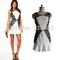 New 2014 Women Lace Dress Sexy Plus Size Fashion Summer Dresses Girls Vestido De Festa Sleeveless Flouncing Dress Free Shipping
