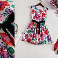 Free shipping! 2014 new O-Neck Sleeveless Slim natural waist abstract print silk dress B184125