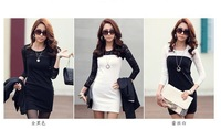 New Dongkuan base Slim was thin package hip lace spell color long-sleeved dress big yards sent free