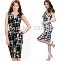 Plus Size New Fashion 2014 Women Spring Summer Girl Black White Vintage Pencil Dress Casual Sheath Bodycon Dress Vestido