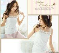 (2 Pcs Least) 2015 NEW HOT Korean summer ladies lace small suspenders t-shirt vest girls single jersey cotton tank top vest