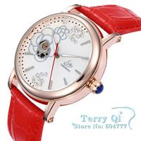 SHENHUA Casual Watch Women Crystal Skeleton Auto-Mechanical Wrist Watch Analog Red Band Leather Wristwatch Free Ship