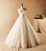2014 Cheap Simple but Elegant Sweetheart Pleated Tulle Sweep Train Puffy Ball Gown Wedding Dresses